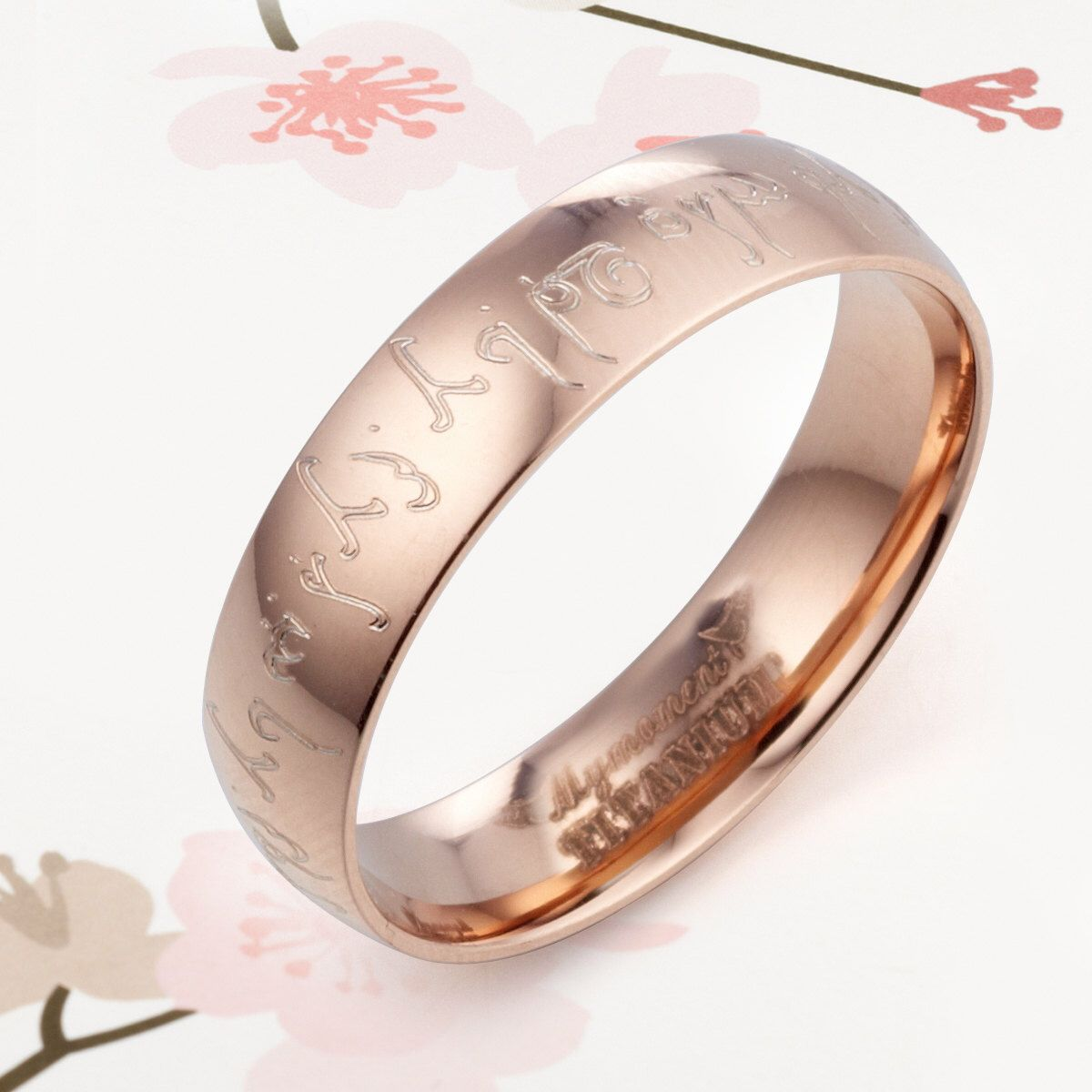 Personal  Elvish Engrave Lord of ring 18K Rose Gold Wedding Anniversary Titanium Couple Rings by MymomentJewelry on Etsy https://www.etsy.com/listing/151476650/personal-elvish-engrave-lord-of-ring-18k