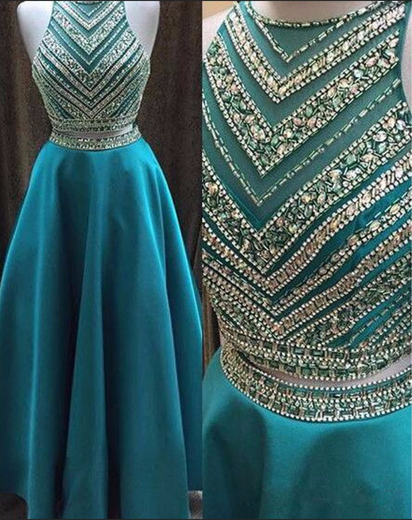 Evening gowns real beading long prom dresses turquoise sheer