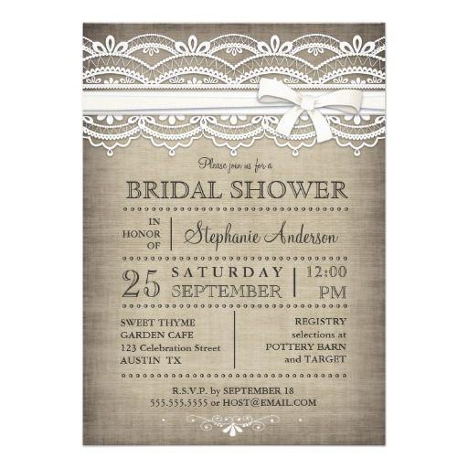 vintage lace linen rustic country bridal shower invitation - Vintage Wedding Shower Invitations