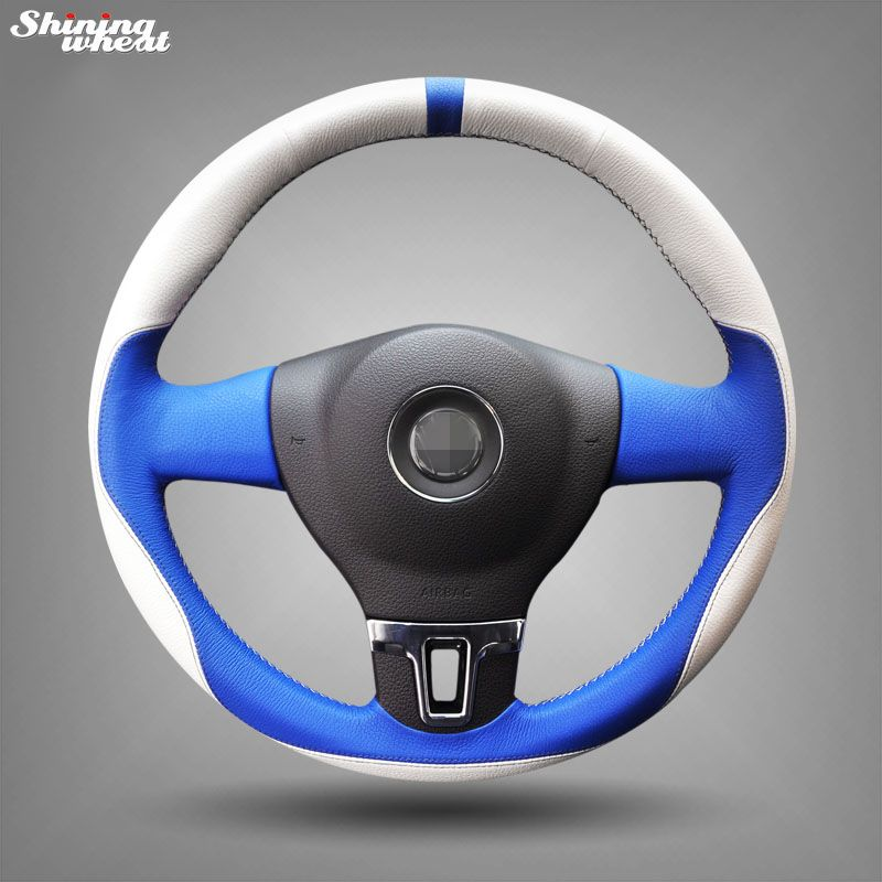 Hand Stitched White Blue Leather Car Steering Wheel Cover For Volkswagen Vw Tiguan Lavida Passat B7 J Car Steering Wheel Cover Wheel Cover Steering Wheel Cover