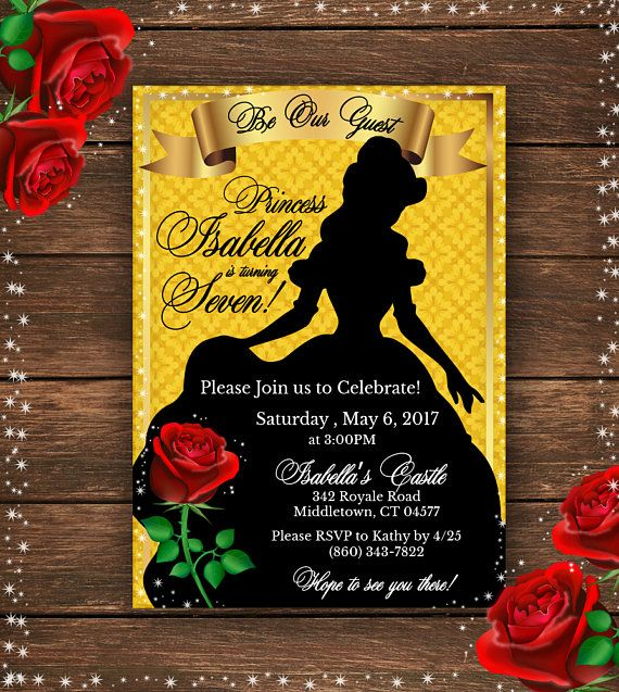 Beauty and the Beast Invitation Beauty and the Beast Birthday