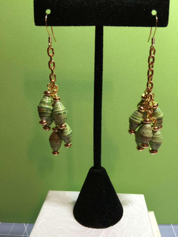 green paper rolled beaded earrings by DeesBeadedDesigns on Etsy