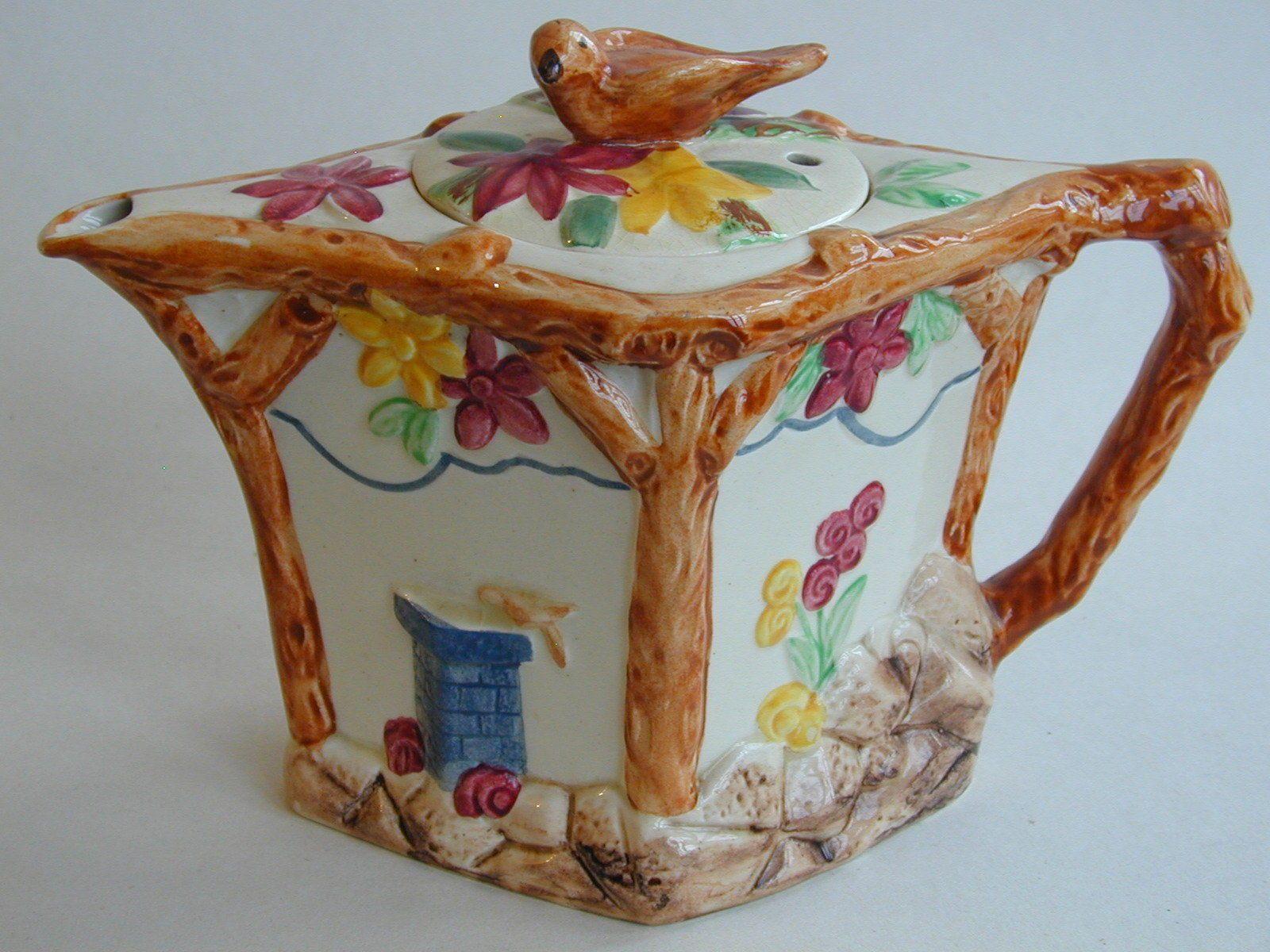 Art Deco Wade Heath Wadeheath Tea Pot With Birds And Flowers Tea Pots Art Deco Flower Art