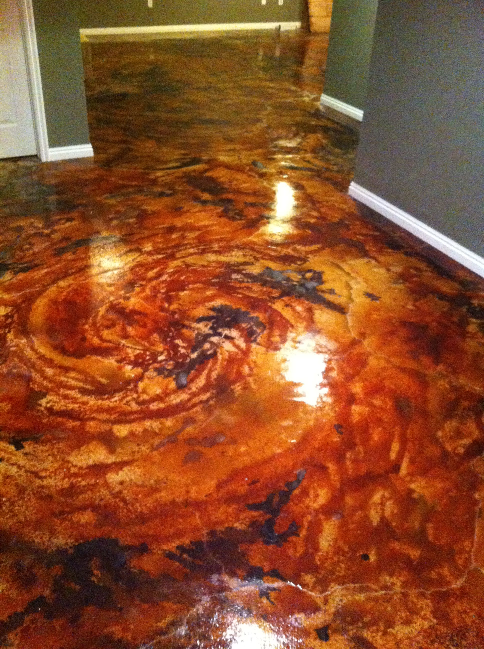 English Red Acid Stain Project Photo Gallery Concrete Floor Satin Finish And Concrete