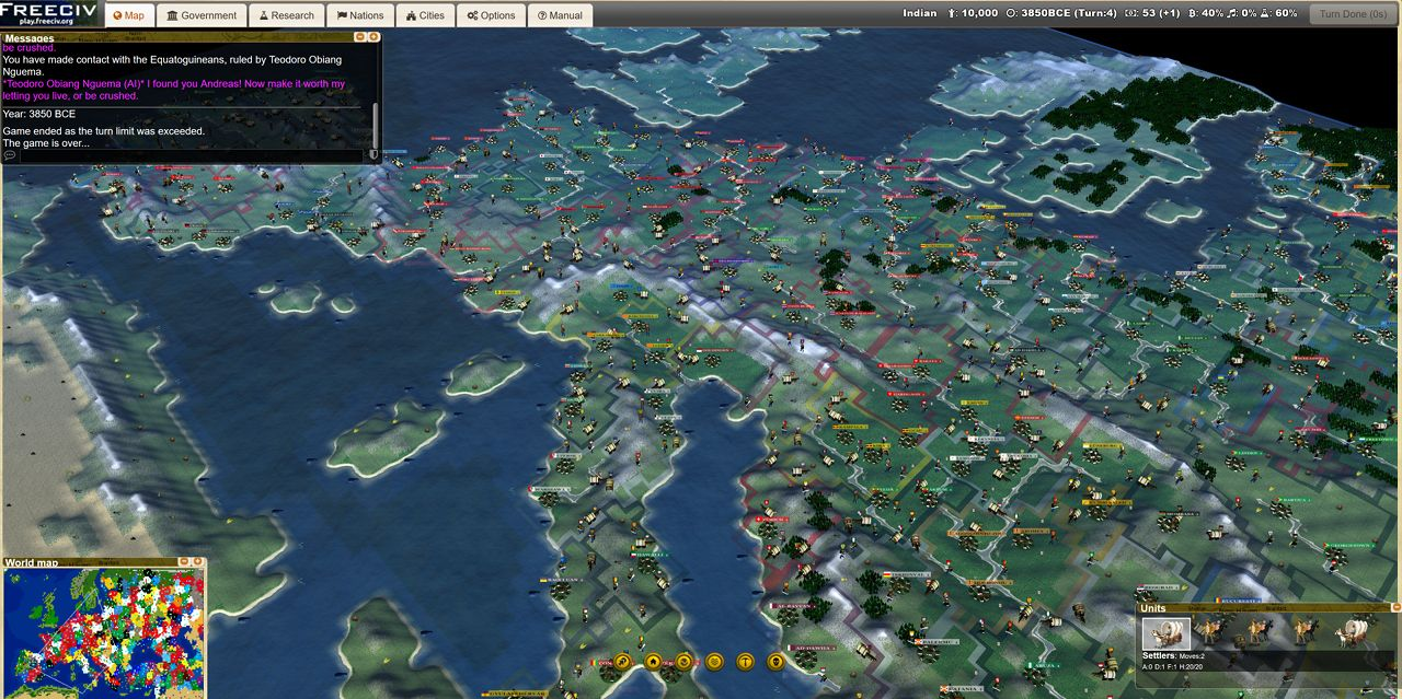 Freeciv - 1 Turn per Day game XII started! #CivilizationBeyondEarth