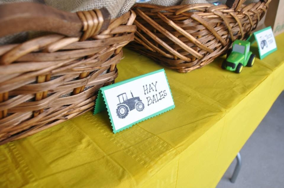 Tractor party food & beverage tags: Logs = hotdogs Hay bales = rice crispy treats Tractor tires = mini chocolate donuts Tractor Fuel = punch/tea