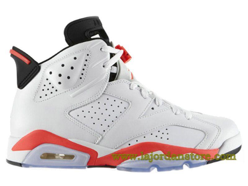 Air Jordan 6 Retro Chaussures De Basketball Pas Cher Pour Homme Blanc Rouge  384664-123A