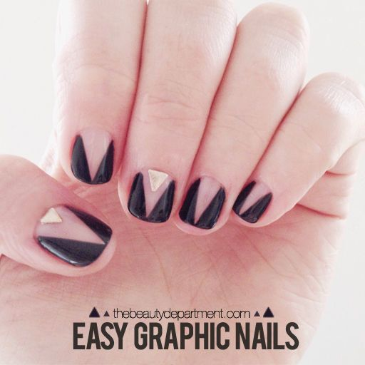 DIY Graphic Nail Art Tutorial from The Beauty Department today. DIY Claw Nail  Art by honeymunchkin at beautylish here. - Easy Graphic Nails --thebeautydepartment.com Nails Pinterest