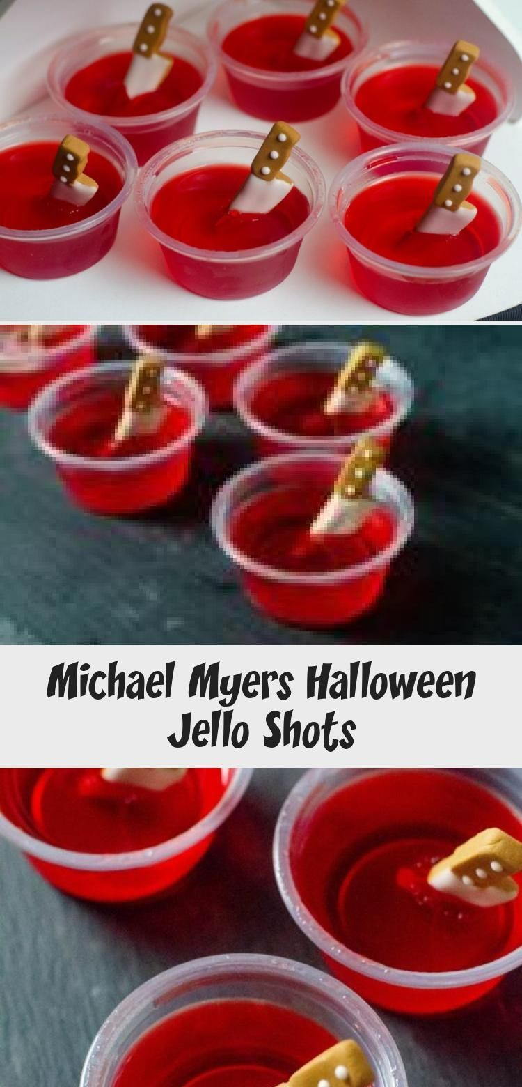 Michael Myers Halloween Jello Shots #jelloshotrecipes Strawberry jello shots with candy knives for Michael Myers Halloween Jello Shots. Great for Halloween parties that are spooky in nature. #cocktailrecipes #cocktails #jelloshots #jello #halloween #spooky #horror #horrormovies  #michaelmyers #FoodandDrinkHalloween #halloweenjelloshots