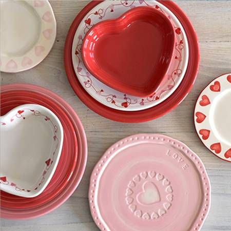 Valentineu0027s Dinnerware u0026 Gifts features Scarlet and Flamingo Fiesta® Dinnerware paired with Luncheon Plate and & Valentineu0027s Dinnerware u0026 Gifts features Scarlet and Flamingo Fiesta ...