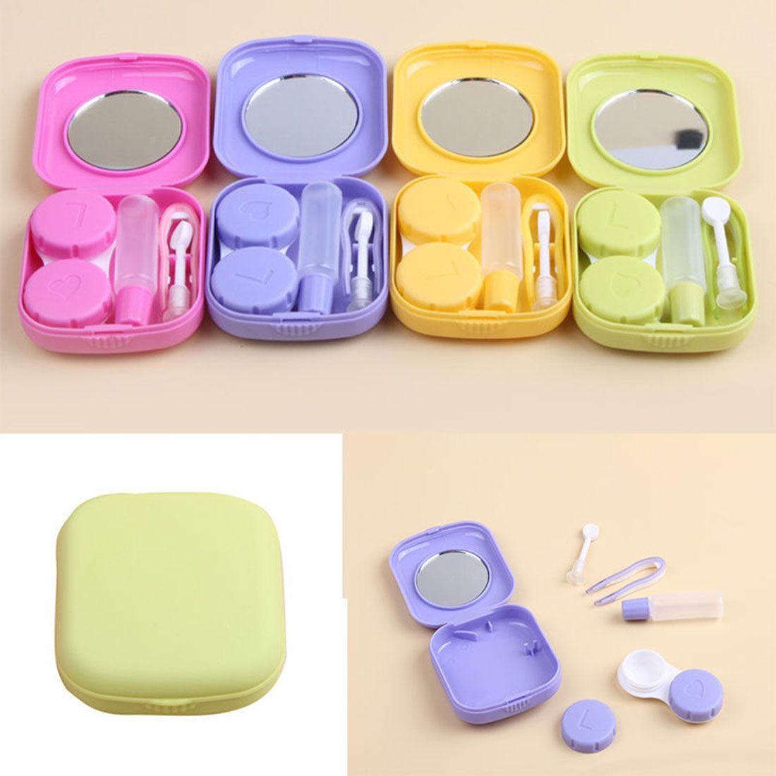 Fashion Portable Cute Pocket Mini Contact Lens Case Travel Kit Mirror Container 5colors Contact Lenses Contact Lenses Case Travel Kits