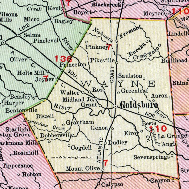 Wayne County North Carolina 1911 Map Rand McNally Goldsboro