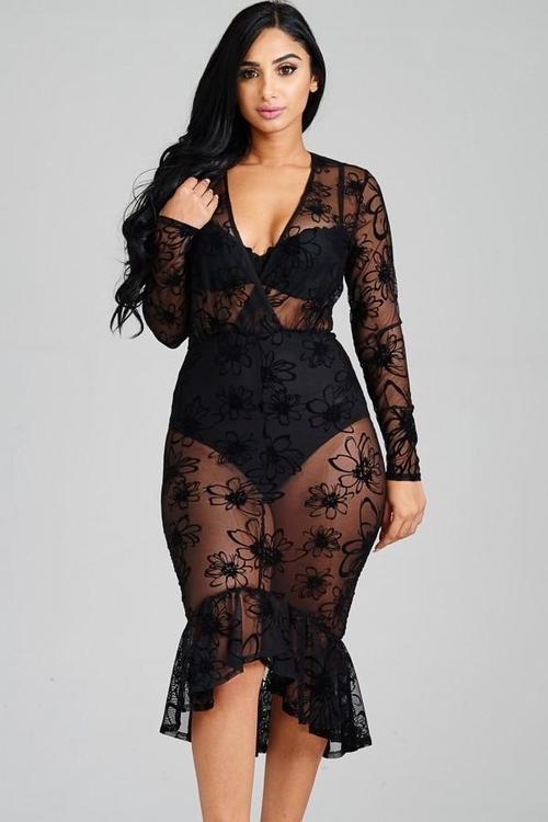 Lace Mesh Bodycon Dress