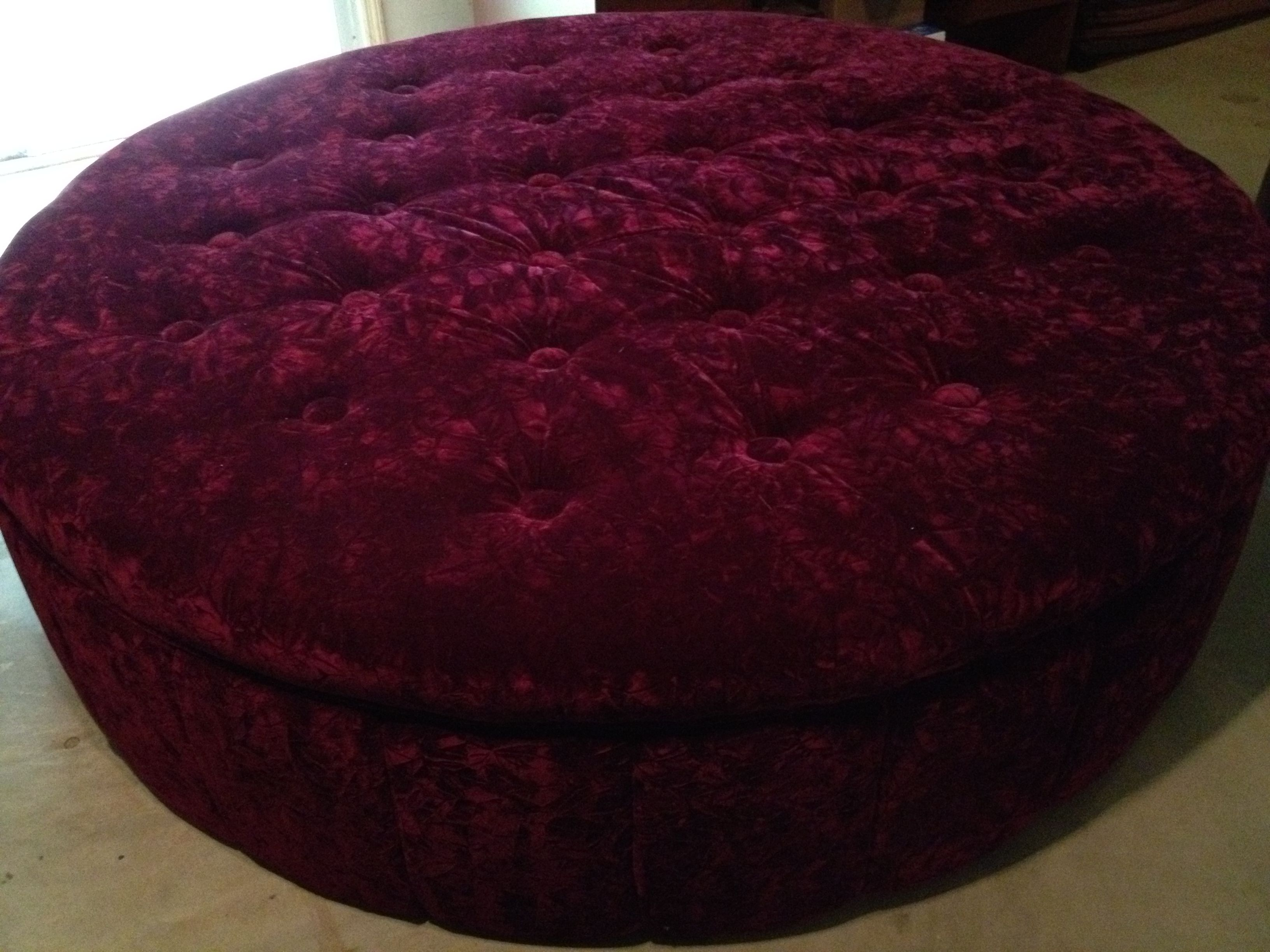 Ruby 6 Foot Round Couch Upholstered In Crushed Velvet Newfangled