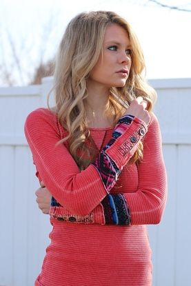 Coral Button Tribal Sleeve Cotton Tee $36 http://www.nanamacs.com/coral-button-tribal-sleeve-cotton-tee/