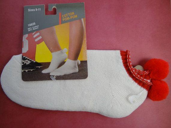 Vintage 1970s Nos Ace Pom Pom Socks Tennis Socks Gym Socks Sport Socks Athletic Socks Wom Athletic Socks Women Terry Cloth Romper Athletic Socks