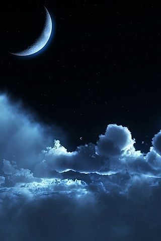Outside, the crescent moon was high in the sky, shining in its