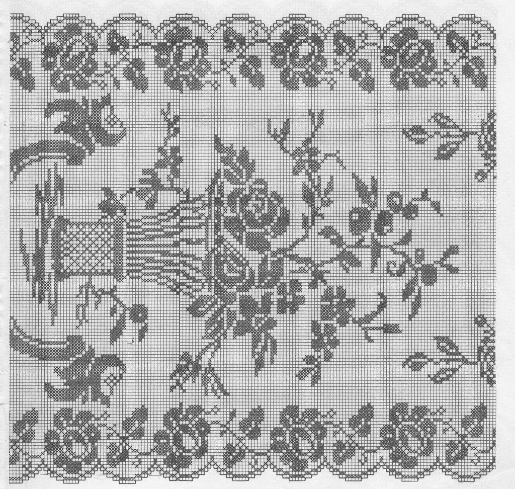 Disegni A Filet Per Tende.Tende A Uncinetto Schemi Con Centri Corsia Uncinetto Filet