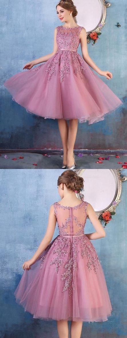 $79-Amazing Lace Appliques Beaded Tea Length A-line Party Dresses ...