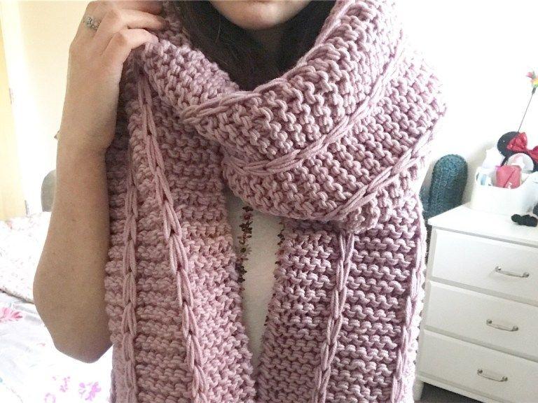 Chunky Knitted Slip Stitch Scarf ZoeCreates Scarf