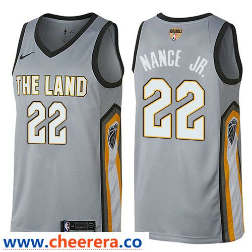 brand new eaf31 60658 Nike Cavaliers #22 Larry Nance Jr. Gray The Finals Patch NBA ...