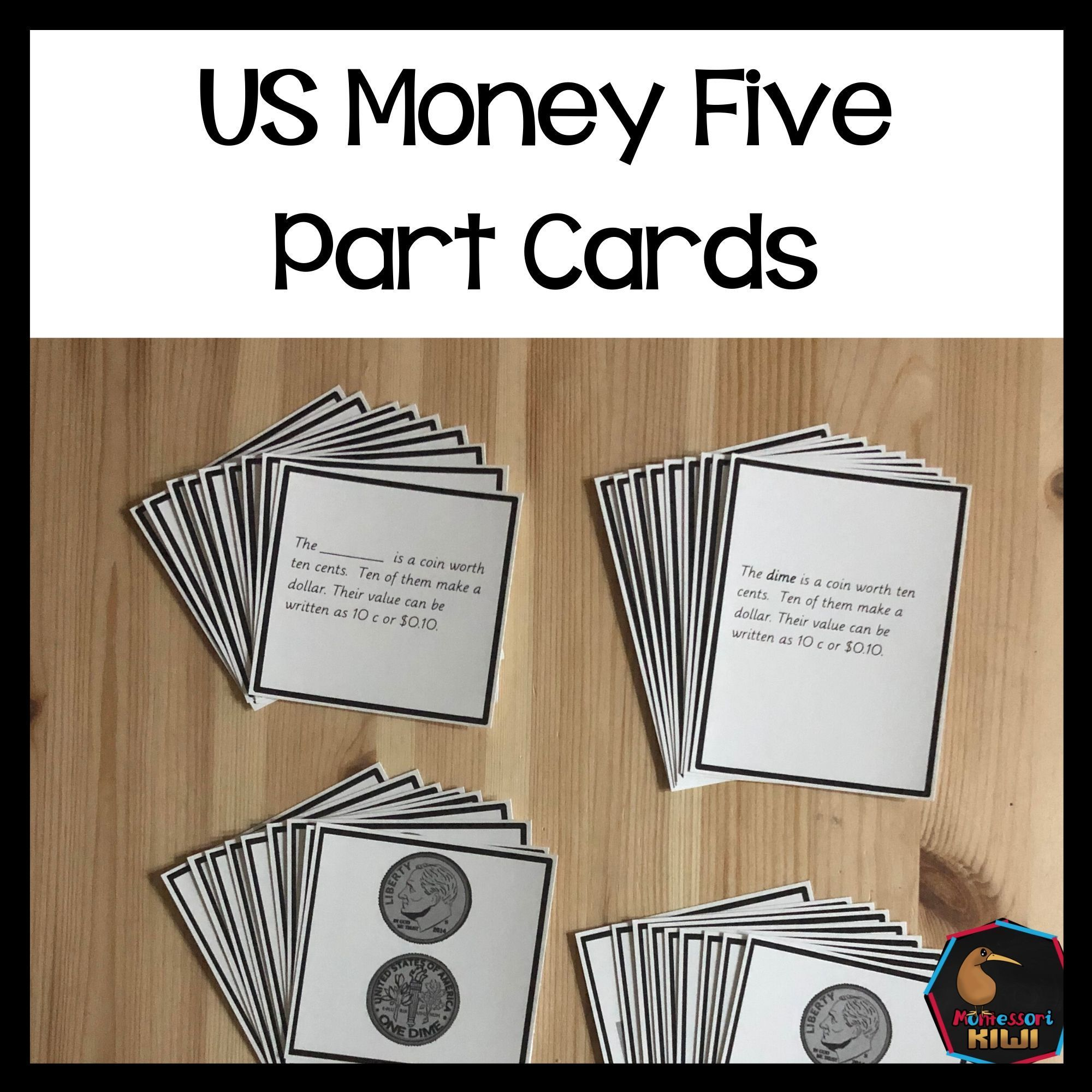 Us Money Montessori Five Part Cards Money Identification