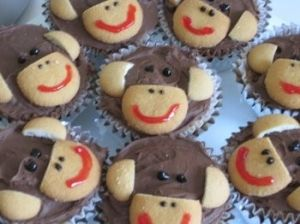 Sock Monkey Cupcakes by lucinda