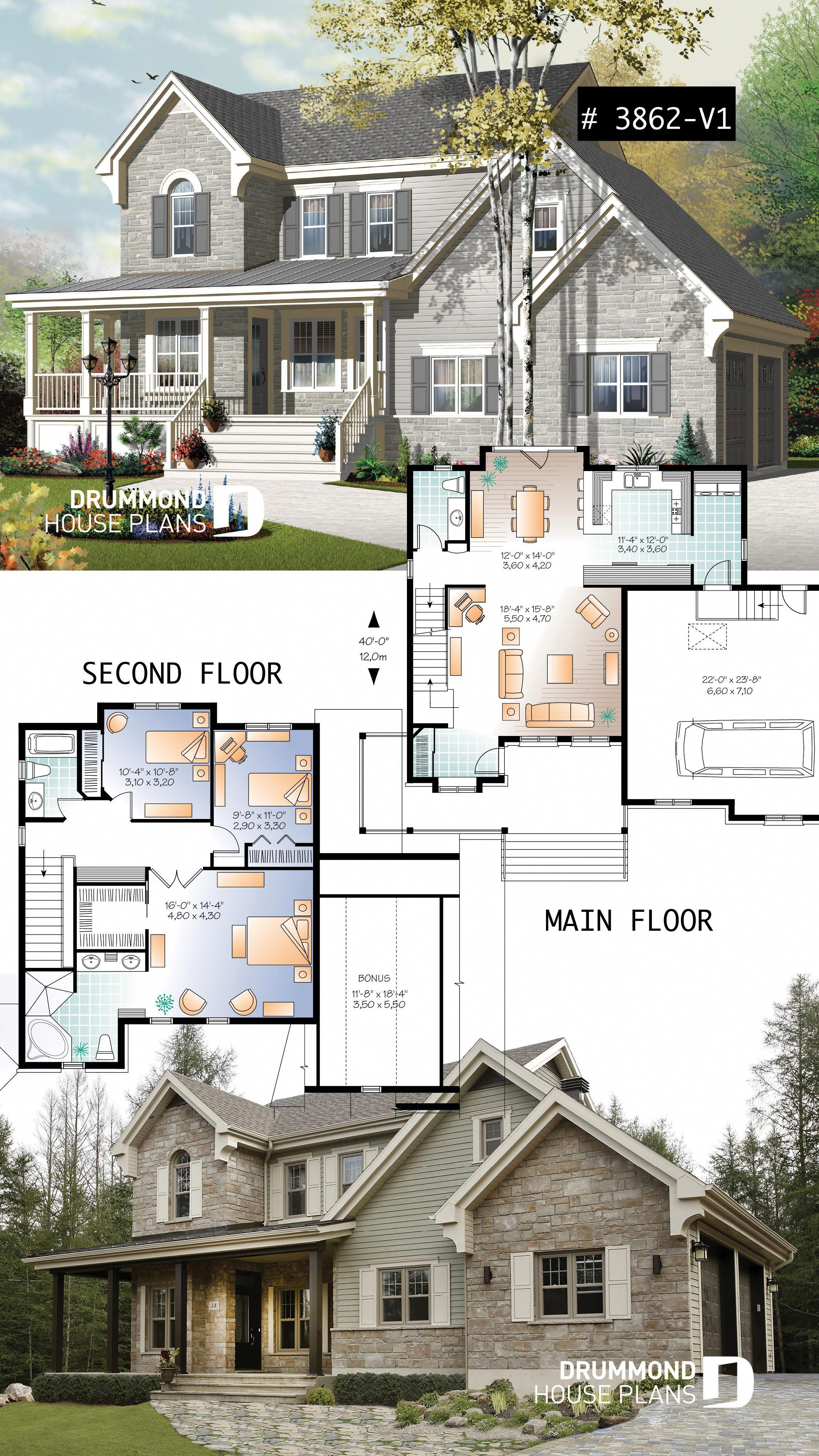 Craftsman House Plan Style Master Suite Well Appointed Kitchen And Double Garage Kitchenplan Sims House Plans House Plans Drummond House Plans