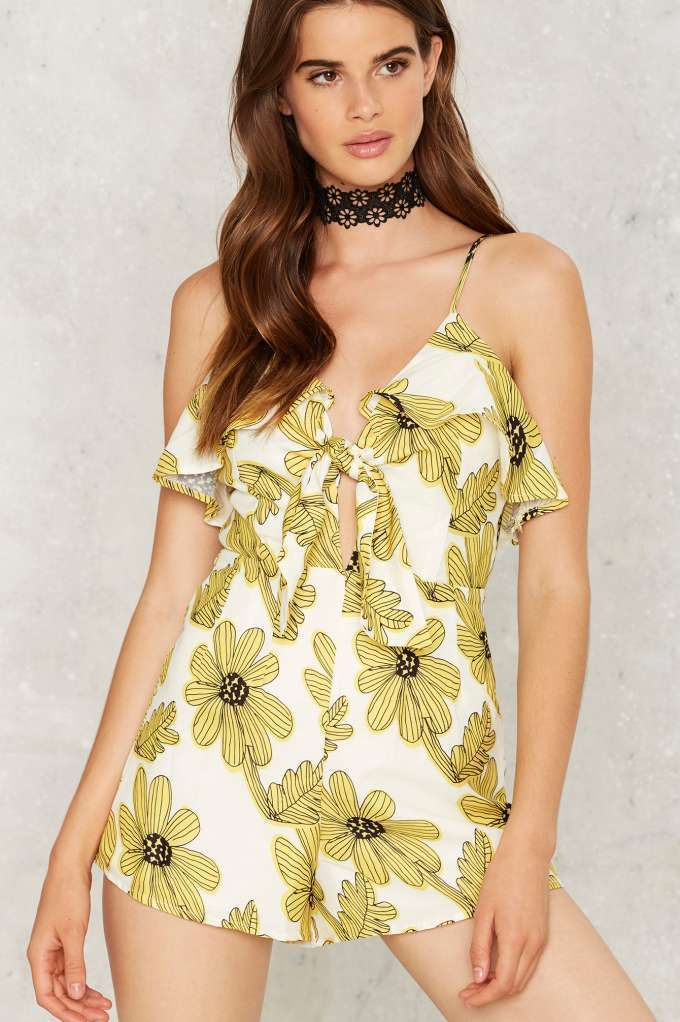 Get Some Sunflower Floral Romper - Clothes   Rompers + Jumpsuits