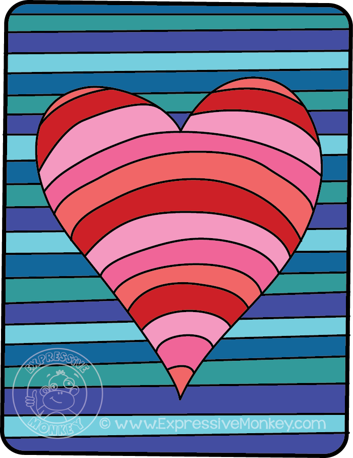 Op Art Hearts Color Study by Expressive Monkey. Monochromatic Colors