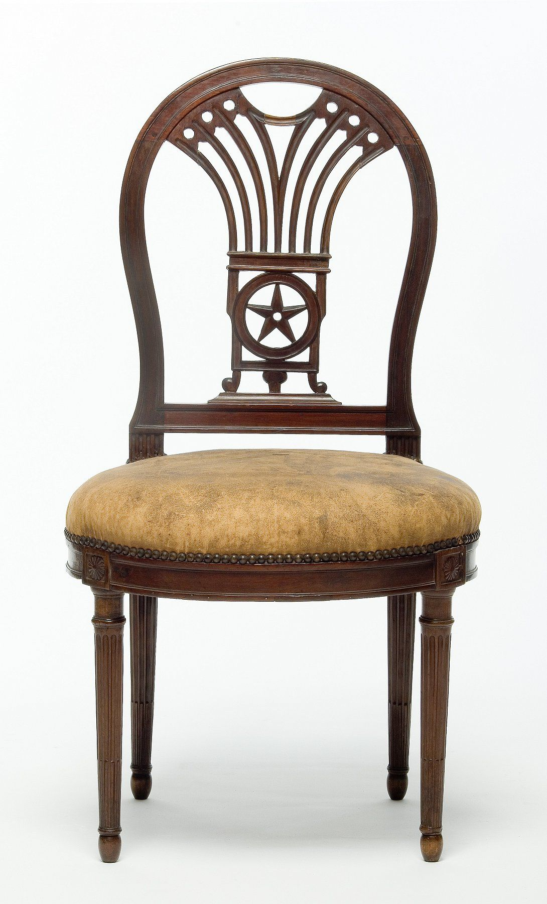 This israel sack american federal mahogany antique lolling arm chair - Chair Georges Jacob Master In 1765 Paris Circa Beech And Mahogany Carved Leather Trim