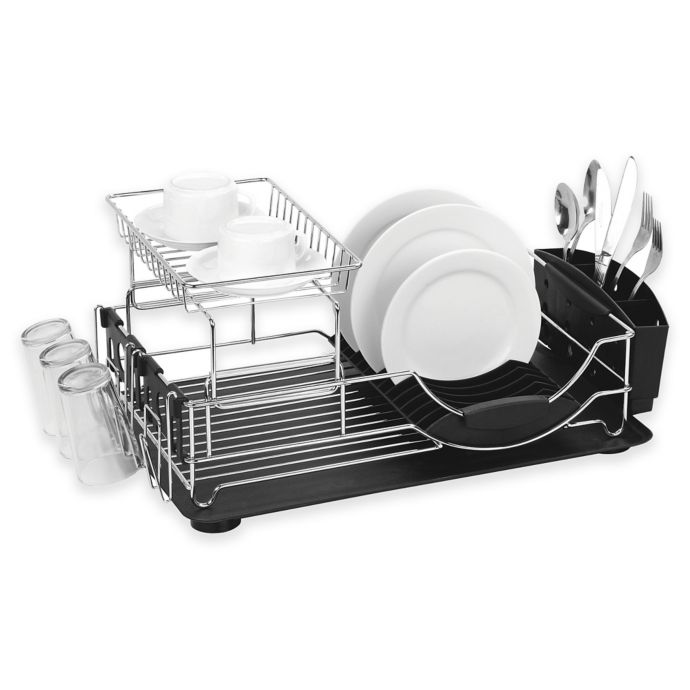 Home Basics 2 Tier Deluxe Dish Drainer Bed Bath Beyond Dish
