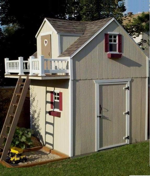 Shed on bottom and play house on top garden for Playhouse sheds