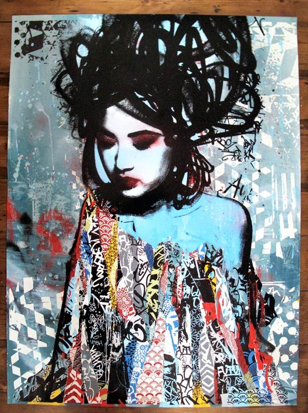 hush entre geisha et street art street art pinterest le collage peuple et graffiti. Black Bedroom Furniture Sets. Home Design Ideas