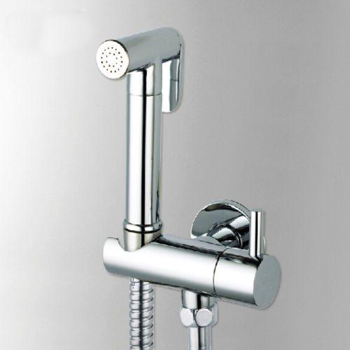 Brass Toilet Hand Held Bidet Sprayer Shattaf Spray Douche Kit Shut Off Valve Bidet Spray Faucet Wall Mount Faucet