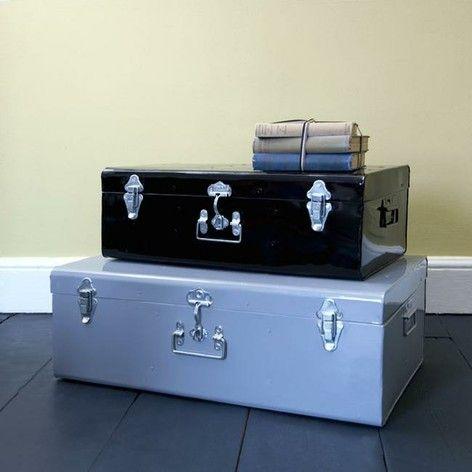 Rhoda metal storage trunk, small, enamel grey