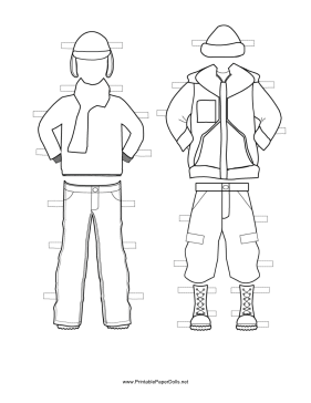 These two free printable Boy Paper Doll winter outfits are great