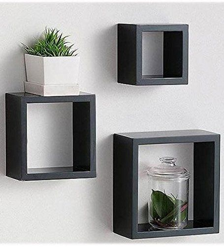 Amazon Com Modern Home 3 Pieces Black Square Cube Wall Shelf Set Floating Cube Shelves Floating Shelves Cube Wall Shelf