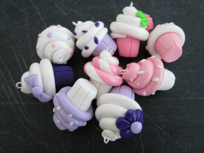 Set of 3 Pink /& Purple Polymer Clay Cupcake Charms