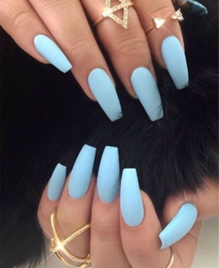 32 Stunning And Trendy Matte Coffin Nails Design Blue Acrylic Nails Powder Blue Nails Baby Blue Nails