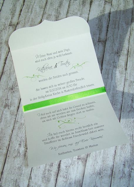 Bogenkarte Klein Innen Hochzeit Und Taufe Einladung Www
