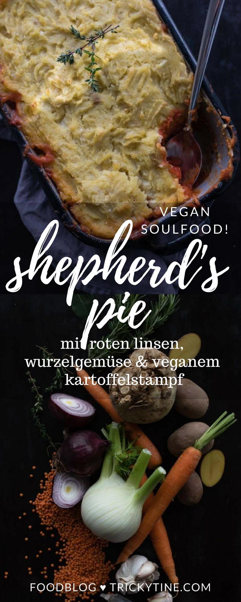 Veganer Shepherd's Pie mit roten Linsen, Möhren, roter Bete und Kartoffel-Sellerie-Stampf #shepardspie