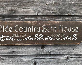 Bathroom Decor Wood Signs Bathroom Signs Primitive Rustic Etsy Country Bathroom Decor Primitive Bathrooms Primitive Decorating Country