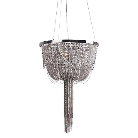 Home collection scarlett metal chain and crystal glass gunmetal chandelier light debenhams