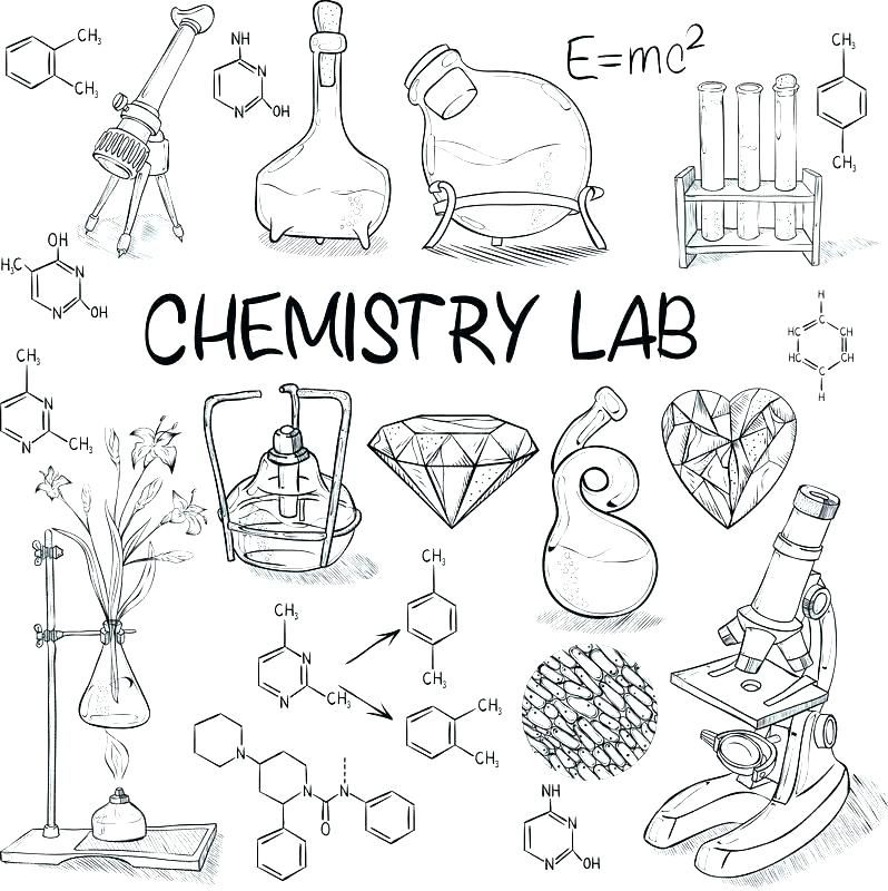 Science Coloring Pages Chemistry lab equipment
