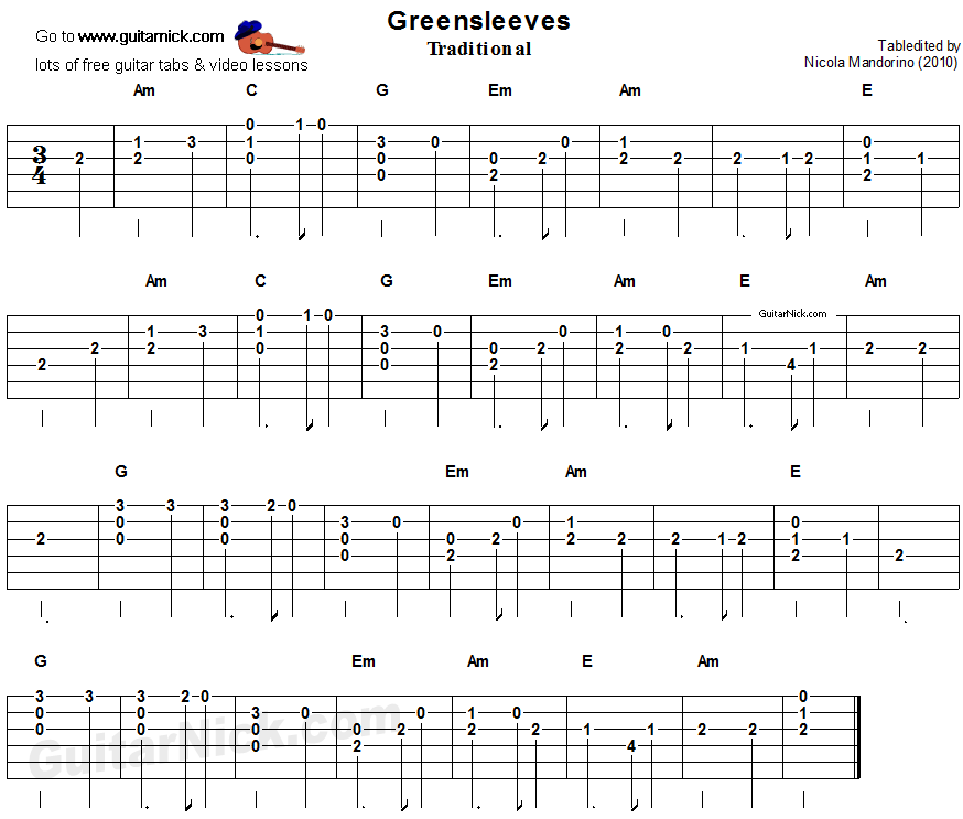 Greensleeves Easy Song For Beginners Guitar Tab Video Lesson