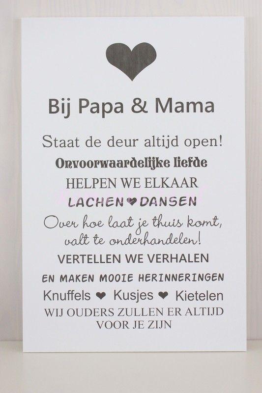 Papa En Mama Tekstborden Teksten Mama Teksten En Spreuken