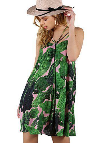 bcacef71d2 Floerns Women s Tropical Print Strappy Summer Beach Dress Green   Cute  summer dresses women are a
