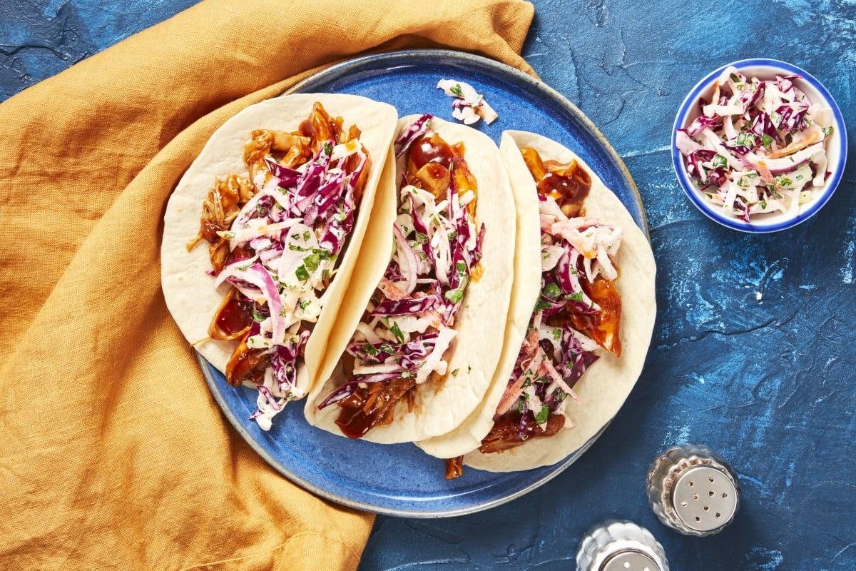 Bbq Pulled Chicken Tacos Recipe Hellofresh Pulled Chicken Tacos Pulled Chicken Chicken Taco Recipes