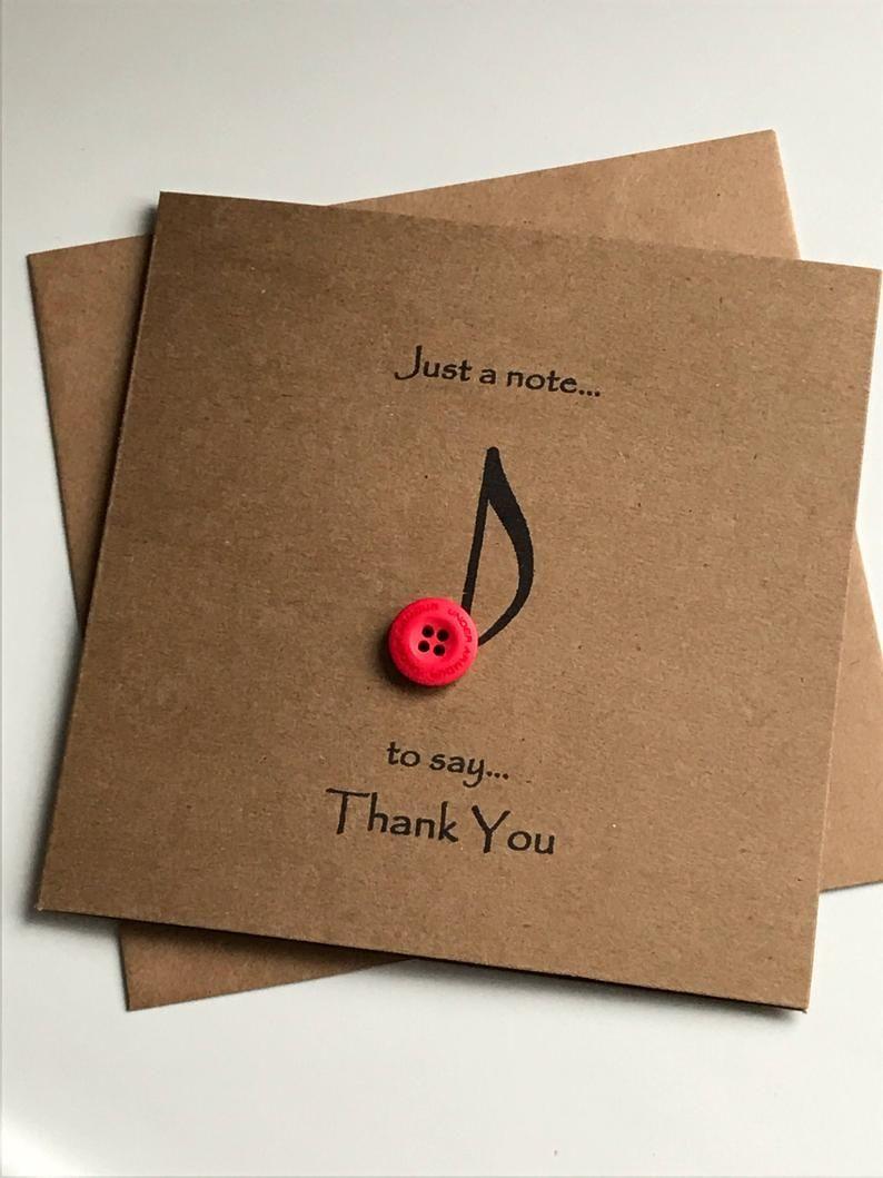 Musik Hinweis Knopf Art Dankeschön-Karte rustikale | Etsy